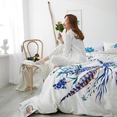 2019新款大版花型全棉四件套 1.2m(4英尺)床 孔雀翎