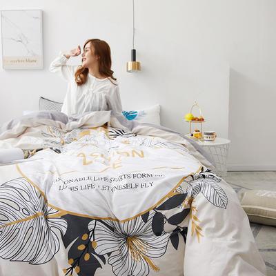 2019新款大版花型全棉四件套 1.2m(4英尺)床 慢生活