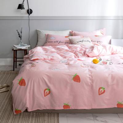 2019纯棉40支爆款混搭系列12868标准200x230CM双人全棉四件套85色 1.5/1.8米床通用 配200X230 草莓心语