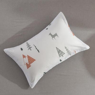 2019纯棉40支12868全棉斜纹印花枕套含纯色枕套16色(第一季) 48X74X1 冬日麋鹿