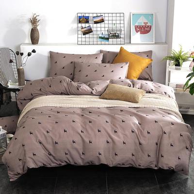 2019新款床笠式四件套15色多规格 1.5米床笠式/1.5米三件套 逐鹿-咖啡