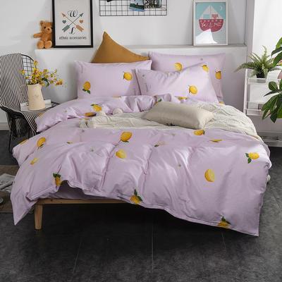 2019新款床笠式四件套15色多规格 1.5米床笠式/1.5米三件套 你好柠檬粉