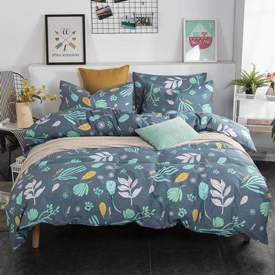 2019新款床笠式四件套15色多规格 1.5米床笠式/1.5米三件套 秋风颂蓝