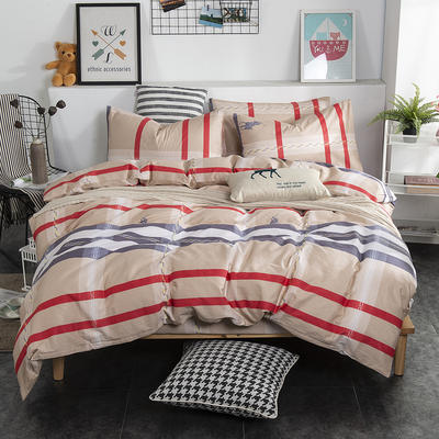 2019新款床笠式四件套15色多规格 1.5米床笠式/1.5米三件套 英伦风情