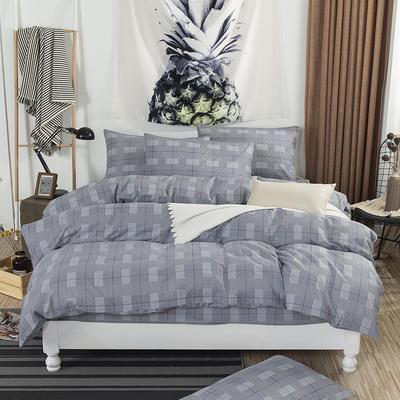 2019新款床笠式四件套15色多规格 1.5米床笠式/1.5米三件套 巴黎之约灰