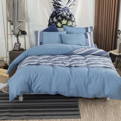 2019新款床笠式四件套15色多规格 1.5米床笠式/1.5米三件套 伦敦之夜蓝灰