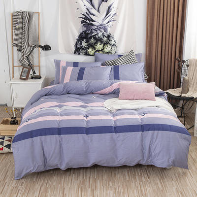 2019新款全棉双人四件套(床笠式) 1.5X2.0米床用 科洛依紫