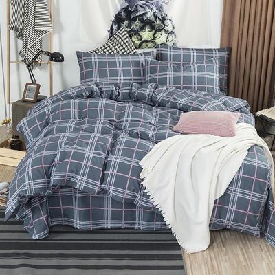 2019新款全棉双人四件套(床笠式) 1.5X2.0米床用 品质生活