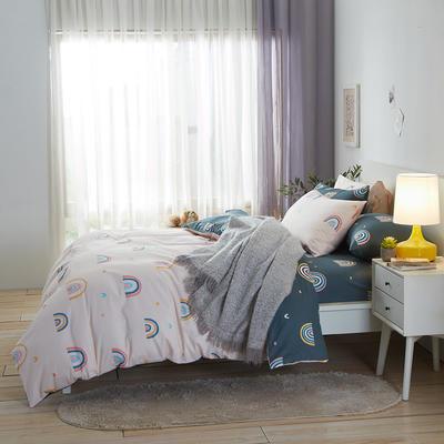 2020新款全棉床单被套枕套网红冻龄风唯美系新品13070纯棉三件套四件套(22色3码) 0.9/1.2米床三件套 彩虹