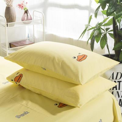 2019纯棉40支12868全棉斜纹印花枕套含纯色枕套69色(第一季) 48X74X1 小黄鸭