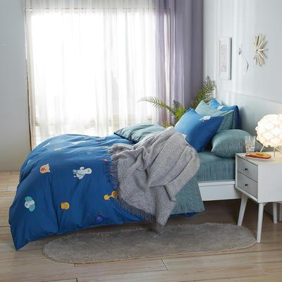 2020新款全棉床单被套枕套网红卡通风儿童系新品13070纯棉三件套四件套(20色7码) 0.9/1.2米床三件套 伙伴