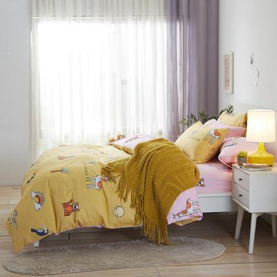 2020新款全棉床单被套枕套网红卡通风儿童系新品13070纯棉三件套四件套(20色7码) 0.9/1.2米床三件套 家园