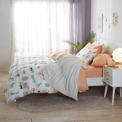 2020新款全棉床单被套枕套网红卡通风儿童系新品13070纯棉三件套四件套(20色7码) 0.9/1.2米床三件套 亲密