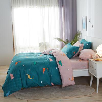 2020新款全棉床单被套枕套网红卡通风儿童系新品13070纯棉三件套四件套(20色7码) 0.9/1.2米床三件套 恐龙绿