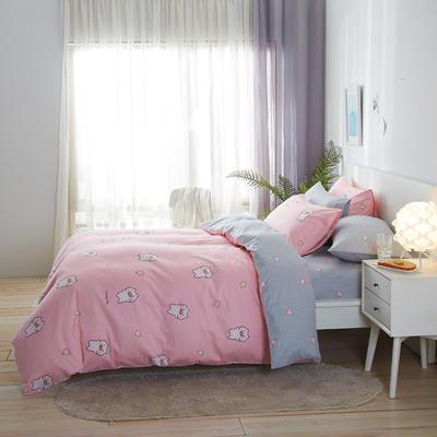2020新款全棉床单被套枕套网红卡通风儿童系新品13070纯棉三件套四件套(20色7码) 0.9/1.2米床三件套 猪猪