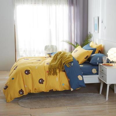 2020新款全棉床单被套枕套网红卡通风儿童系新品13070纯棉三件套四件套(20色7码) 0.9/1.2米床三件套 布朗