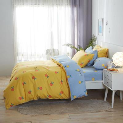 2020新款全棉床单被套枕套网红卡通风儿童系新品13070纯棉三件套四件套(20色7码) 0.9/1.2米床三件套 鲜橙
