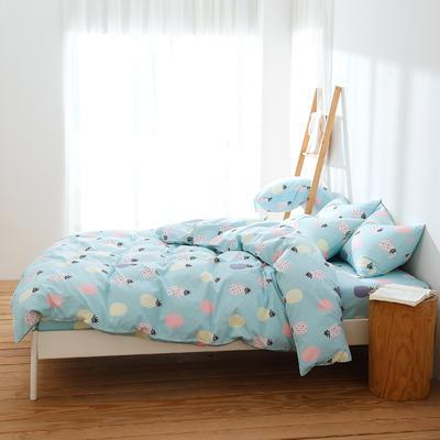 2019新款全棉三件套纯棉四件套(床笠式) 1.5X2.0米床用(三件套) 舒意菠萝兰