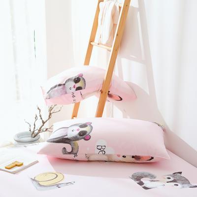 2019纯棉40支12868全棉斜纹印花枕套含纯色枕套69色 48X74X1 安吉拉粉