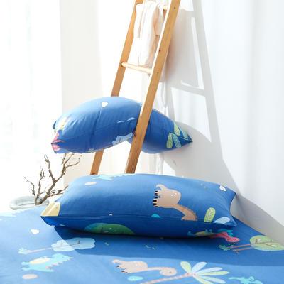2019纯棉40支12868全棉斜纹印花枕套含纯色枕套69色 48X74X1 恐龙乐园蓝