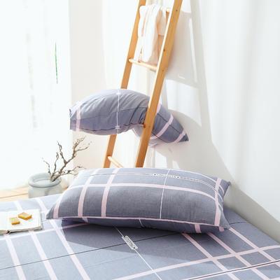 2019纯棉40支12868全棉斜纹印花枕套含纯色枕套69色 48X74X1 格瑞斯灰