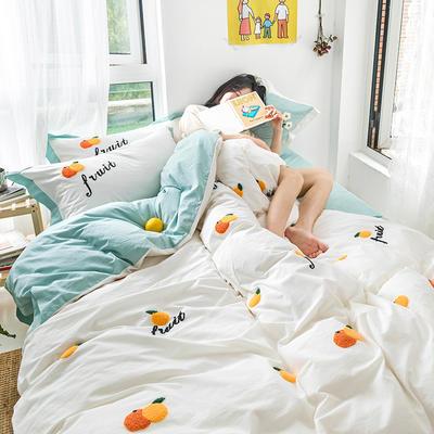 新款全棉水洗棉四件套 小雏菊 毛巾绣小清新全棉套件 1.2m床单款三件套 小桔子奶白