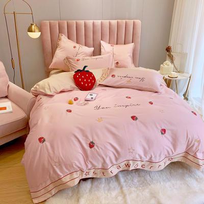 2019新款HM长绒棉四件套 抱枕含芯 小草莓