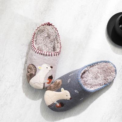 K2025松鼠贴布绣家居鞋