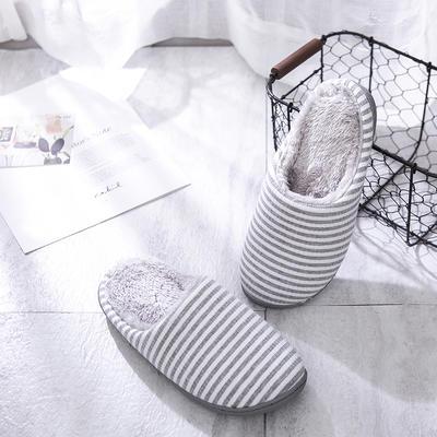 K2028条纹加绒家居鞋 S(36-37) 灰色