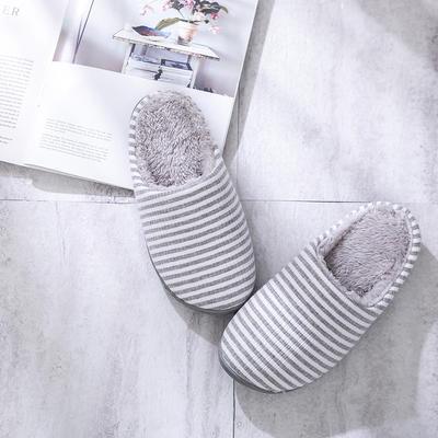 K2028条纹加绒家居鞋2 L(40-41) 灰色
