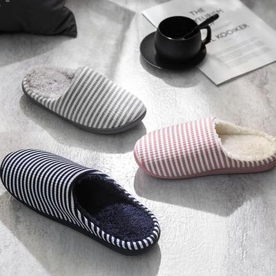 K2028条纹加绒家居鞋2 L(40-41) 藏青