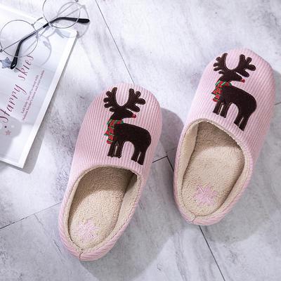 K2029圣诞麋鹿贴布绣家居鞋 M(38-39) 粉色