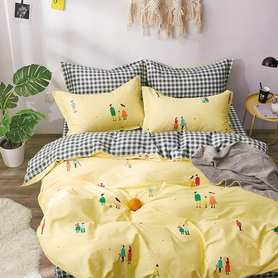 2019新款-40支13372纯棉斜纹简约卡通清新水果花卉四件套 三件套1.2m(4英尺)床 陪伴-黄