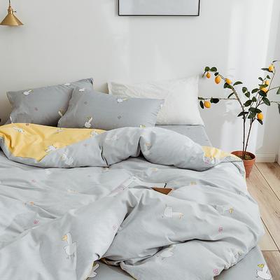 2019新款-40支13372纯棉斜纹简约卡通清新水果花卉四件套 三件套1.2m(4英尺)床 俏皮鸭-灰