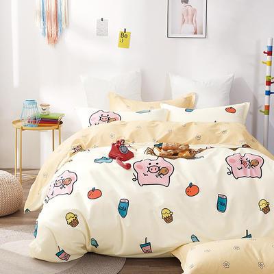 2019新款-40支13372纯棉斜纹简约卡通清新水果花卉四件套 三件套1.2m(4英尺)床 网红猪-米