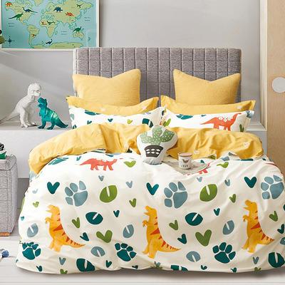 2019新款-40支13372纯棉斜纹简约卡通清新水果花卉四件套 三件套1.2m(4英尺)床 原始世界-米