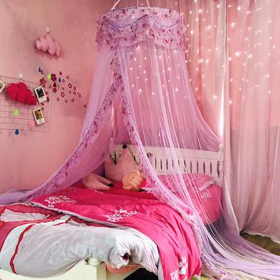 2019新款妙曼仙子唯美花边公主蚊帐圆顶吊顶床幔单人双人 1.5m(5英尺)床 玫瑰粉70圆
