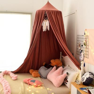 北欧圆顶床幔儿童挡风婴儿床围床头装饰遮光蚊帐吊顶床上帐篷床帘 65*250*400cm 北欧豆沙红