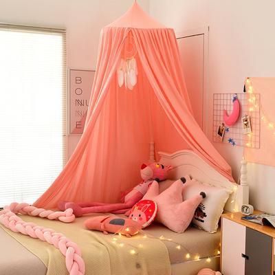 北欧圆顶床幔儿童挡风婴儿床围床头装饰遮光蚊帐吊顶床上帐篷床帘 65*250*400cm 北欧粉色