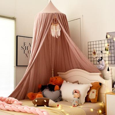 北欧圆顶床幔儿童挡风婴儿床围床头装饰遮光蚊帐吊顶床上帐篷床帘 65*250*400cm 北欧褐粉