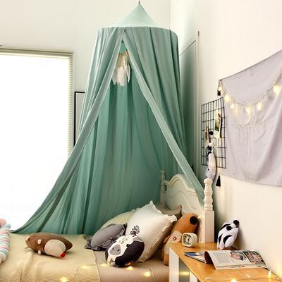 北欧圆顶床幔儿童挡风婴儿床围床头装饰遮光蚊帐吊顶床上帐篷床帘 65*250*400cm 北欧湖水绿