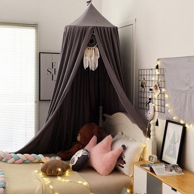 北欧圆顶床幔儿童挡风婴儿床围床头装饰遮光蚊帐吊顶床上帐篷床帘 65*250*400cm 北欧深灰
