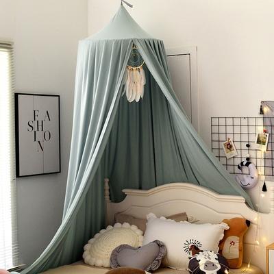 北欧圆顶床幔儿童挡风婴儿床围床头装饰遮光蚊帐吊顶床上帐篷床帘 65*250*400cm 北欧烟灰绿