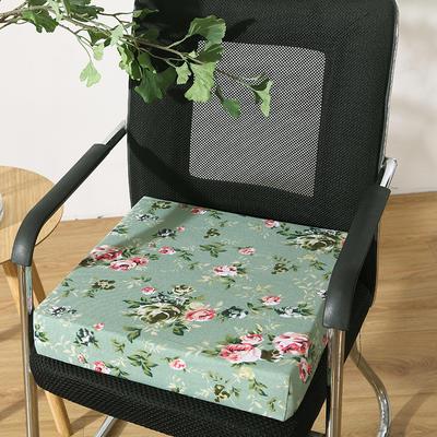 45D全棉帆布高密度加硬海绵坐垫椅垫可拆洗双面印花支持定做 30*40*5cm 翠绿色 绿底花