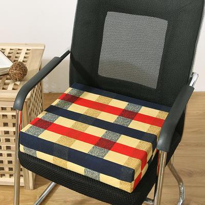 45D全棉帆布高密度加硬海绵坐垫椅垫可拆洗双面印花支持定做 30*40*5cm 地中海 格子