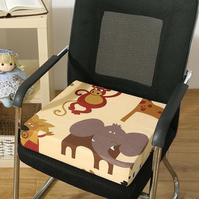 45D全棉帆布高密度加硬海绵坐垫椅垫可拆洗双面印花支持定做 30*40*5cm 花色 动物园