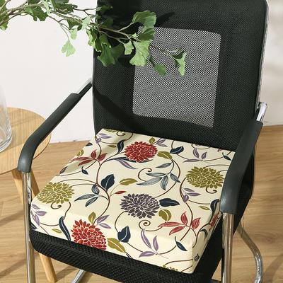 45D全棉帆布高密度加硬海绵坐垫椅垫可拆洗双面印花支持定做 30*40*5cm 菊花