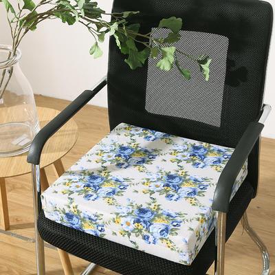 45D全棉帆布高密度加硬海绵坐垫椅垫可拆洗双面印花支持定做 30*40*5cm 蓝花