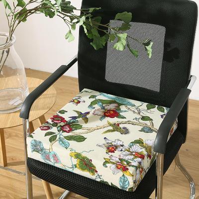 45D全棉帆布高密度加硬海绵坐垫椅垫可拆洗双面印花支持定做 30*40*5cm 鸟语花香