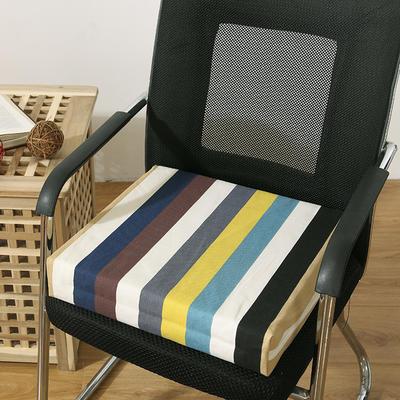 45D全棉帆布高密度加硬海绵坐垫椅垫可拆洗双面印花支持定做 30*40*5cm 条纹